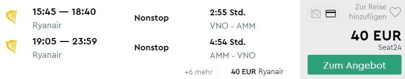 direct flights from Vilnius Lithuania to JORDAN