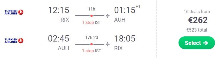 Cheap flights from Riga to ABU DHABI