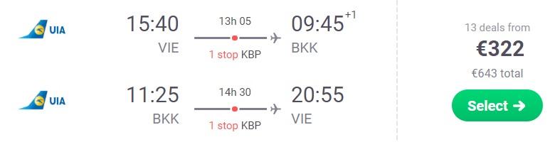 Cheap flights from Vienna to Bangkok THAILAND