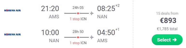 Cheap flights to FIJI from Amsterdam Netherlands