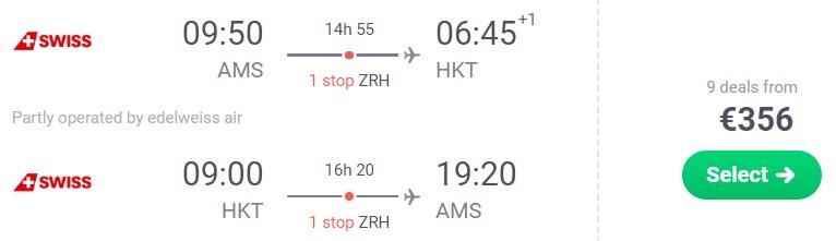 FULL SERVICE flights from Amsterdam to Phuket, Thailand