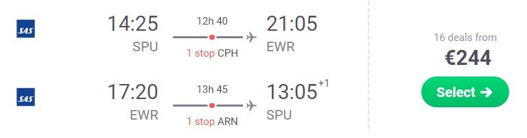 Flights from Split Croatia to NEW YORK
