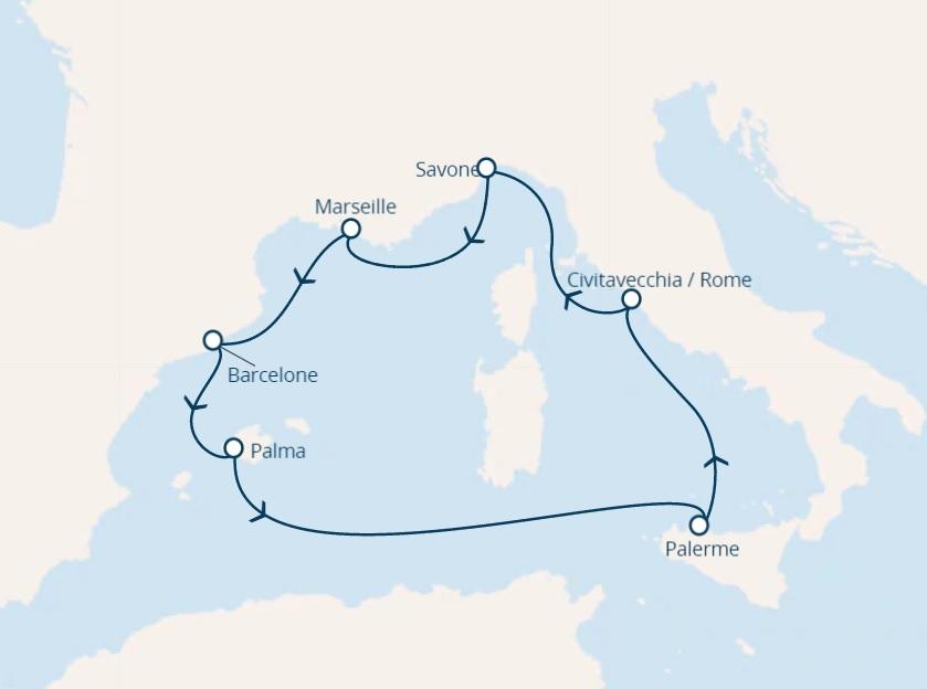 Full Board cruise from Savona Italy around Mediterranean sea
