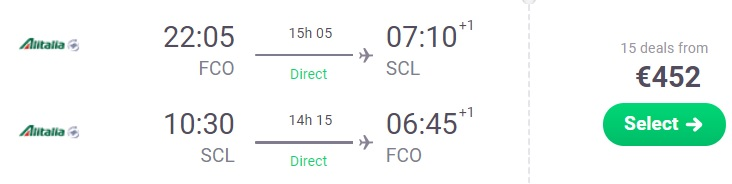NON STOP flights from Rome Italy to CHILE