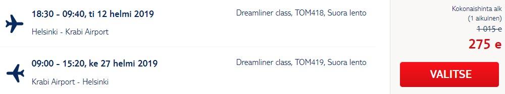 Non stop flight from Helsinki to Krabi THAILAND