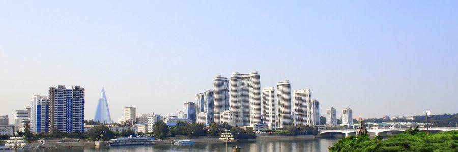 NORTH KOREA, PYONGYANG - SEPTEMBER 24, 2017: Aerial view of new