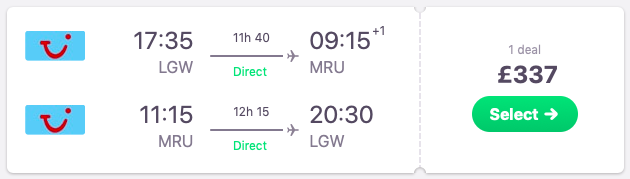 DIRECT flight from London to Mauritius