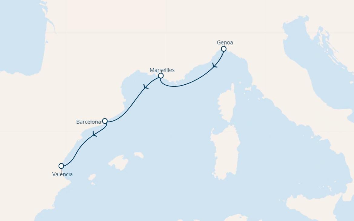 cheap cruise from genoa to valencia