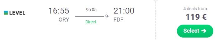cheap flight paris to martinique