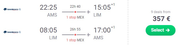 cheap flights from amsterdam to south america
