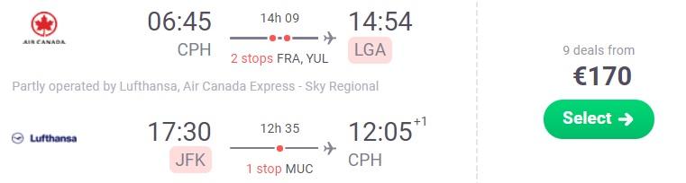 flights from Copenhagen to NEW YORK