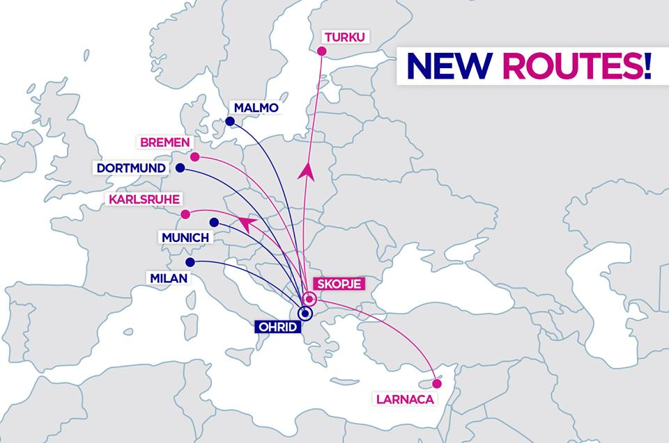 wizzair new routes from skopje macedonia