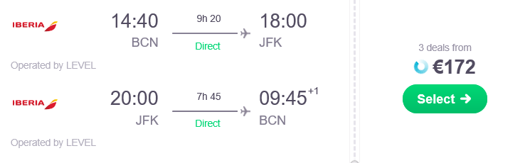 barceloan to nyc