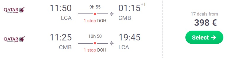 Cheap flights from Cyprus to SRI LANKA