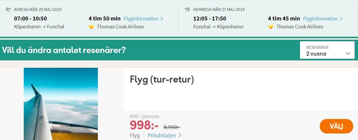 flyg till madeira från köpenhamn