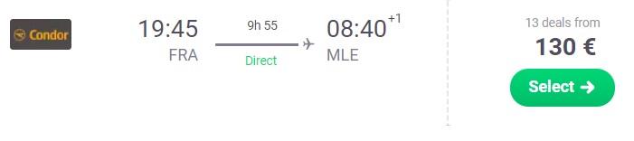 Direct flight from Frankfurt to MALDIVES