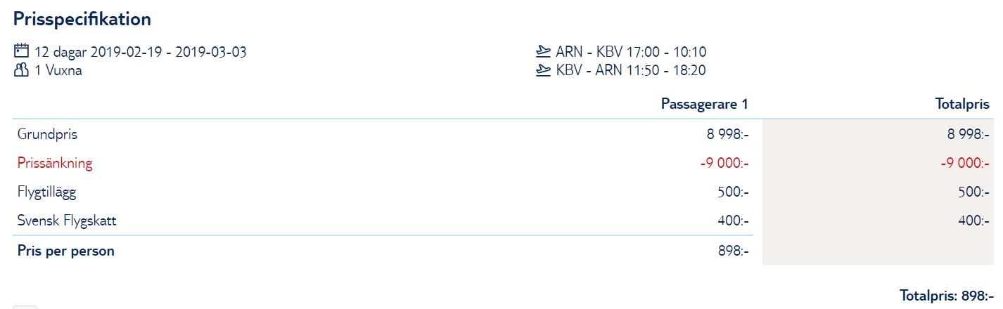 Direct flight from Stockholm to KRABI