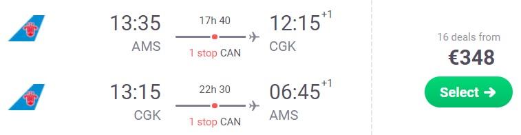 Flights from Amsterdam to JAKARTA INDONESIA