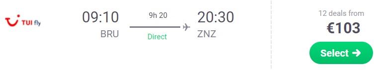 Non Stop flight from Brussels to ZANZIBAR