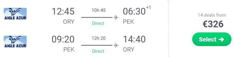 Non Stop flights from PARIS, France to Beijing, CHINA