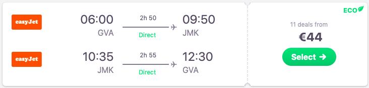 Direct flights Geneva Mykonos