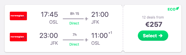 Direct flights from Oslo to New York
