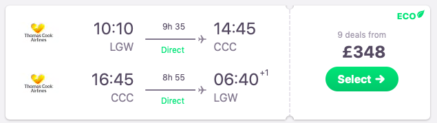 Direct flights from London to Cayo Coco, Cuba