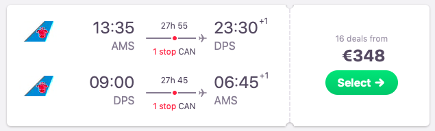 Flights from Amsterdam to Bali, Indonesia