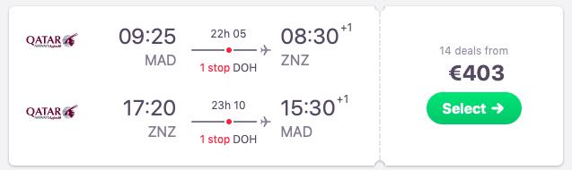 Flights from Madrid to Zanzibar