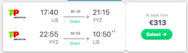 Flights from Lisbon, Portugal to Toronto, Canada