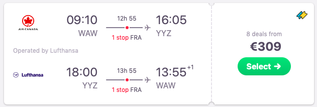 Flights from Warsaw to Toronto, Canada