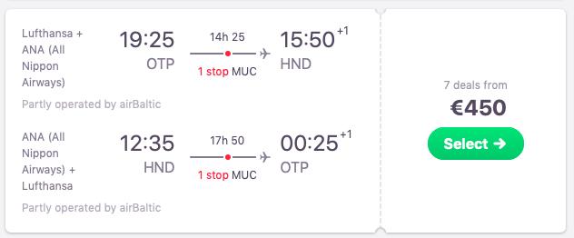 Flights from Bucharest, Romania to Tokyo