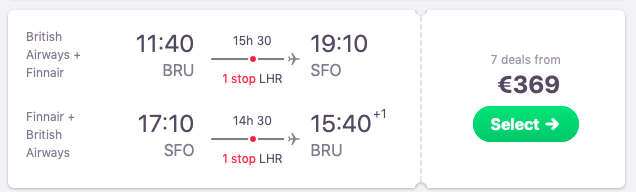 Flights from Brussels, Belgium to San Francisco
