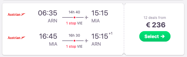 Flights from Stockholm to Miami, Florida