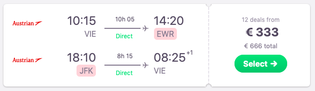 Direct flights from Vienna to New York