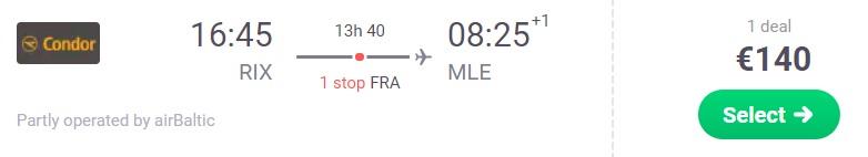 cheap flight riga maldives