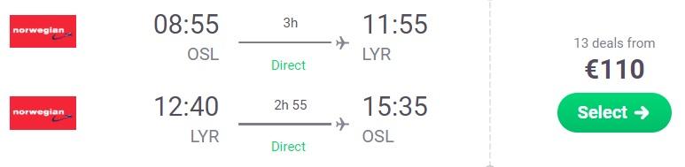 cheap flights oslo svalbard