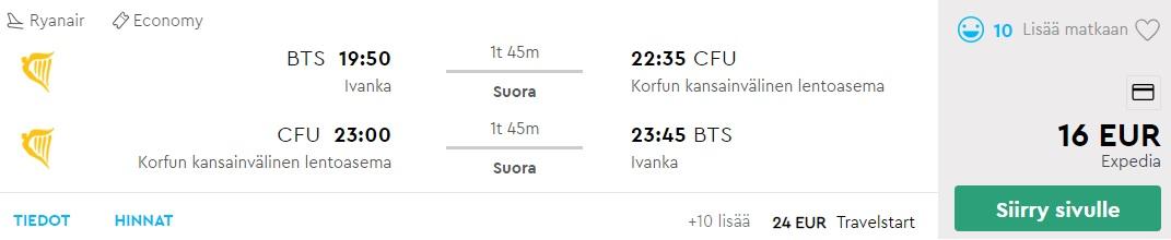 Cheap flights from Bratislava to CORFU
