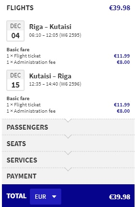 Direct flights from Riga to KUTAISI GEORGIA