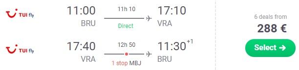 LAST MINUTE Cheap flight tickets from Brussels to CUBA Varadero