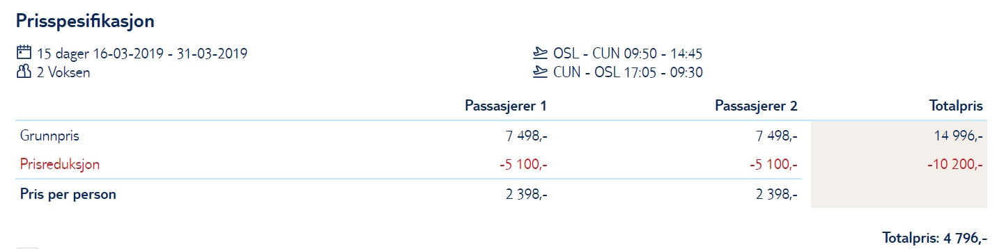 LAST MINUTE Non Stop flight to CANCUN from Oslo Norway
