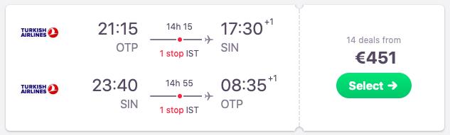 Flights from Bucharest, Romania to Singapore