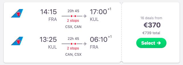 Flights from Frankfurt, Germany to Kuala Lumpur