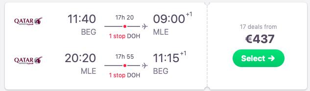 Flights from Belgrade, Serbia to the Maldives
