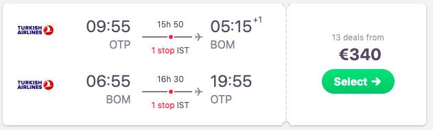 Flights Bucharest, Romania to Mumbai, India