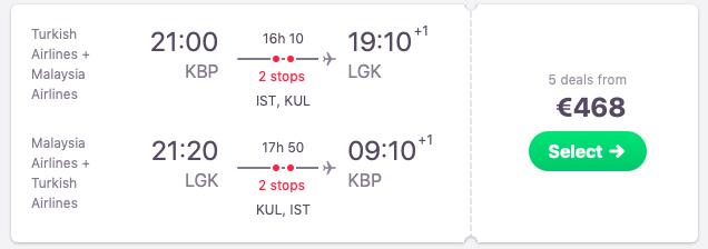 Flights from Kyiv to Langkawi, Malaysia