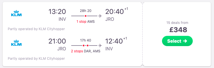 Flights from Inverness to Kilimanjaro, Tanzania