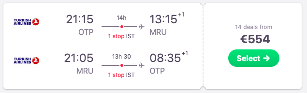 Flights from Bucharest, Romania to Mauritius