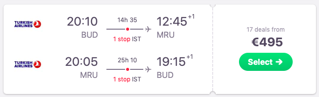 Flights from Budapest to Mauritius