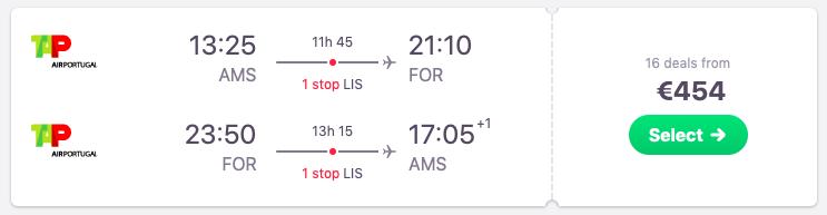 Flights from Lisbon, Portugal to Fortaleza, Brazil